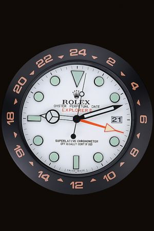 Rolex Explorer II Wall Clock White Dial Sky Blue Markers Black And Orange Bezel Japanese Quality Quartz 12'' WC022